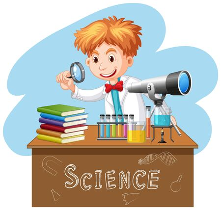Scientist doing experiment in science lab illustration