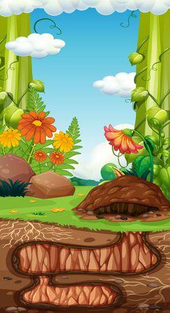 Landscape design with hole underground