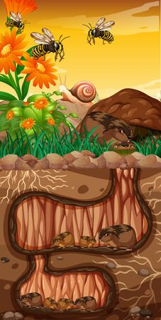 Landscape design with groundhogs and bees Ilustrace