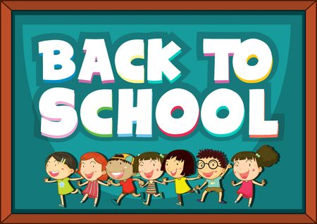 Back to school template with happy children