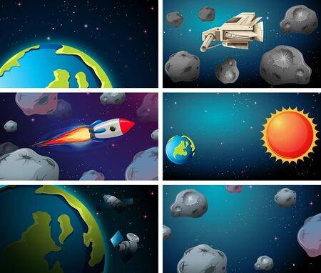 Set of rockets, asteroids and earth scenes