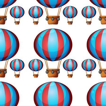 Seamless pattern tile cartoon with hot air balloon
