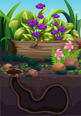Nature scene with flower and underground hole
