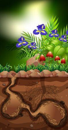 Nature scene with mushroom and flowers