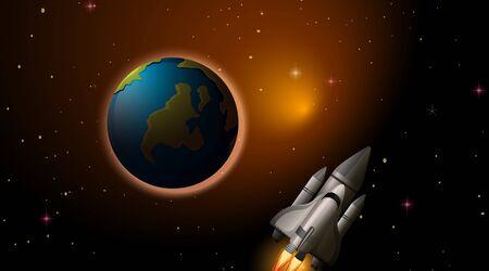 Rocket and earth scene illustration