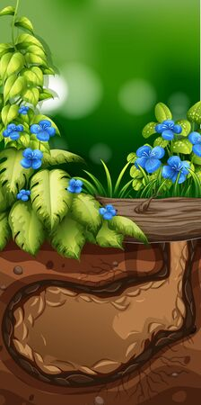 Nature scene with blue flowers in garden illustration