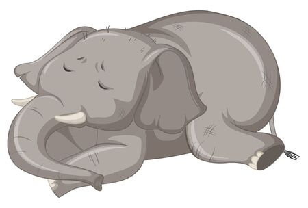 Sick elephant on white background illustration Illustration