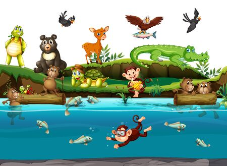 Many animals by the river illustration