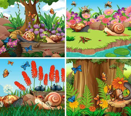 Set of background scene with nature theme illustration