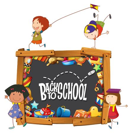 Back to school template with doodle children illustration Ilustracja