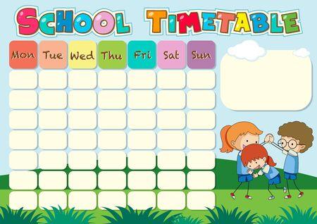 Plantilla de horario escolar con niños jugando ilustración
