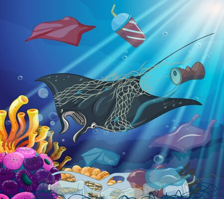 Pollution control scene with sea creatures and trash illustration