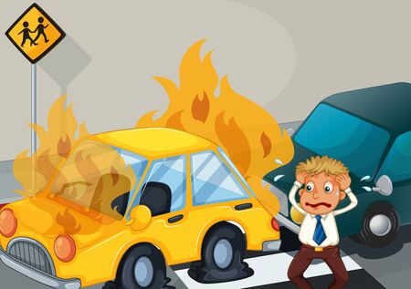 Accident scene with two cars on fire illustration Stock Vector - 129253114
