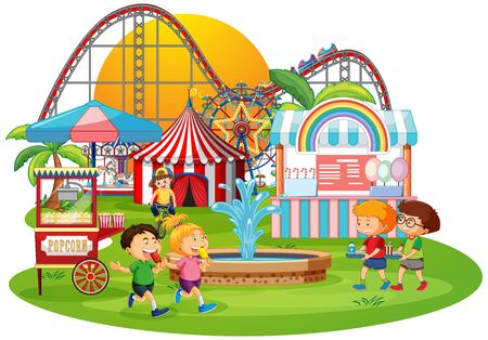 An outdoor funfair scene illustration