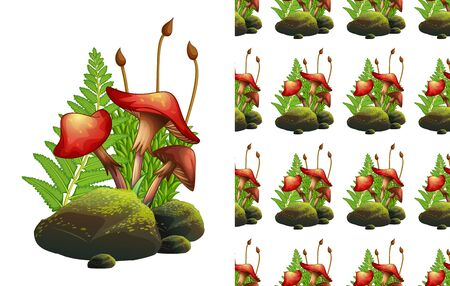 Seamless background design with red mushrooms on rocks illustration Ilustracja