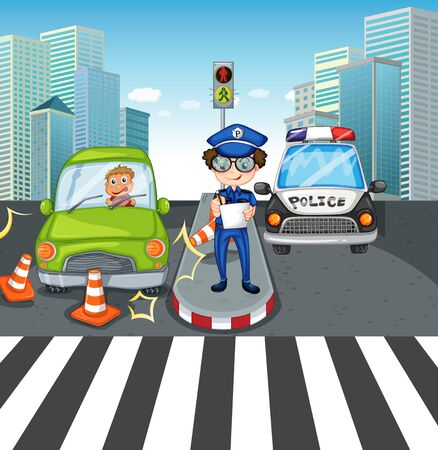 Scene with cars on the road illustration Ilustracja