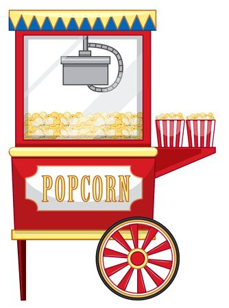 Vendor design at funfair for popcorn illustration Иллюстрация