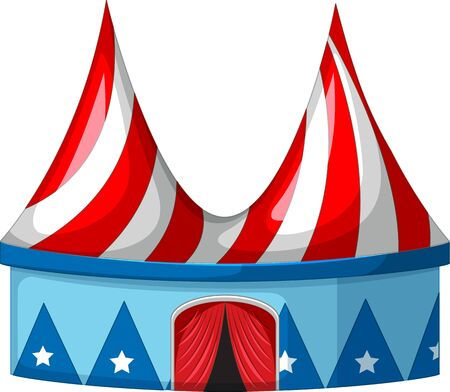 Circus tent in blue and red illustration