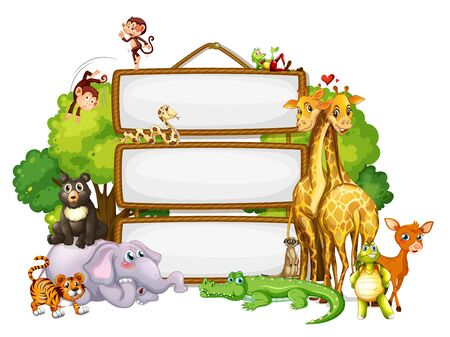 Border template design with cute animals illustration 向量圖像