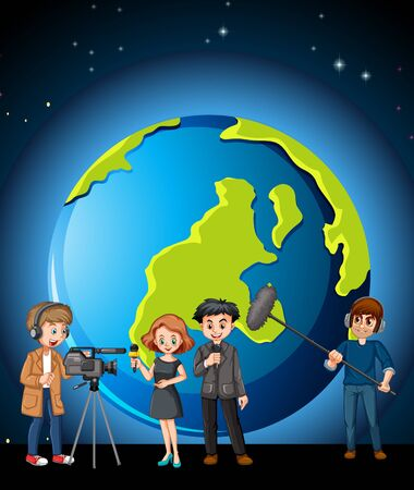 News reporter and photographer with globe in background illustration