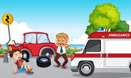 Accident scene with injured boy and ambulance illustration