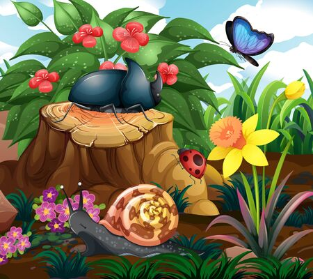 Background scene with insects in the garden illustration Ilustração