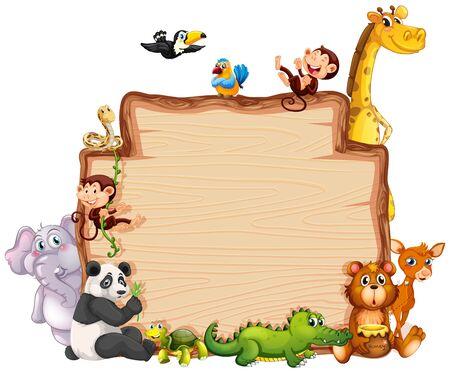 Border template with cute animals  illustration 版權商用圖片 - 129253319
