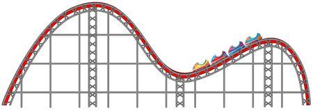 Roller coaster track on white background illustration