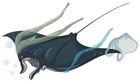 Stingray and plastic bags on white background illustration