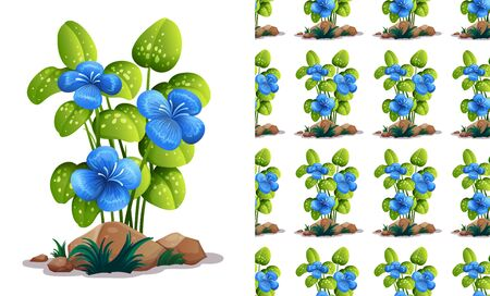 Seamless background design with blue flowers and green leaves illustration