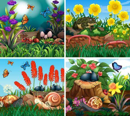 Set of background scene with nature theme illustration Stockfoto - 129253334