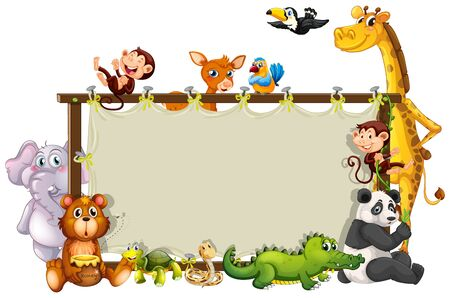 Border template with cute animals  illustration 版權商用圖片 - 129253335