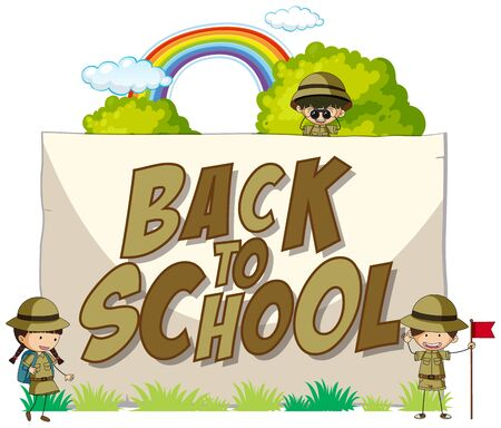 Back to school template with scout illustration 版權商用圖片 - 129253336