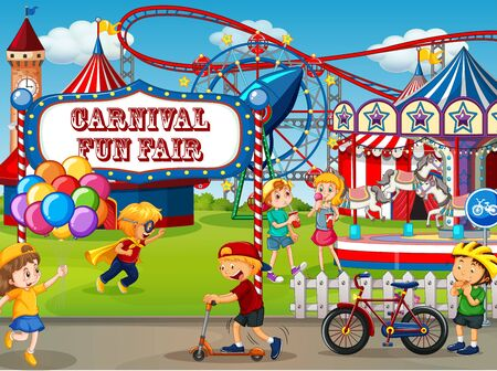 An outdoor funfair scene with many children playing illustration Stock Vector - 129253337