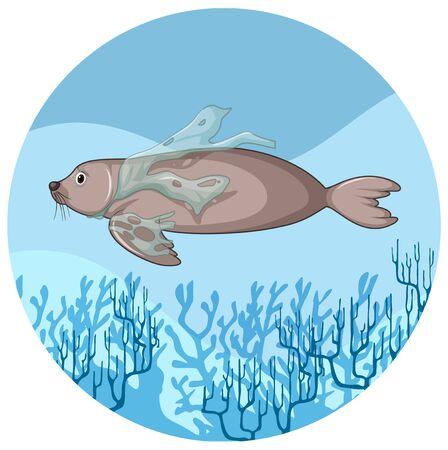 Manatee and plastic bags underwater illustration Stock Illustratie