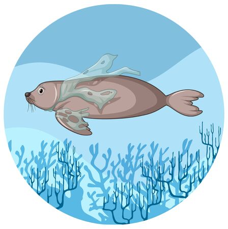 Manatee and plastic bags underwater illustration Illustration