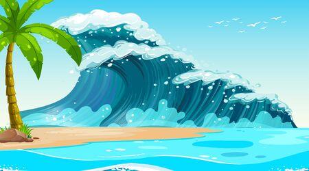 Empty nature beach ocean coastal landscape illustration Ilustracja