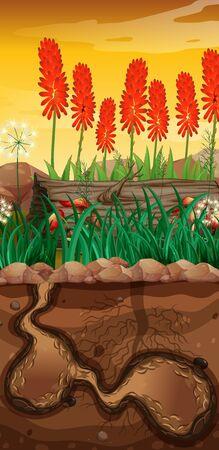 Nature scene with underground hole and flower garden illustration Stock Illustratie