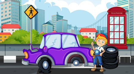 Accident scene with mechanic fixing flat tyre illustration