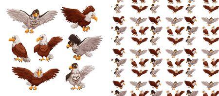 Seamless and isolated animal pattern cartoon illustration