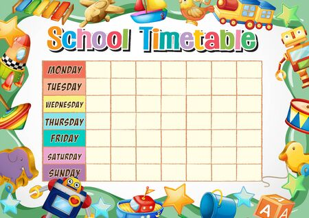 School timetable template with toys illustration Banque d'images - 129253357