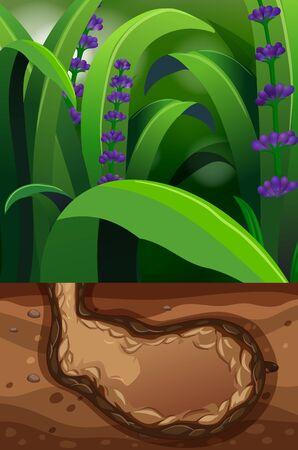 Nature scene with underground hole illustration