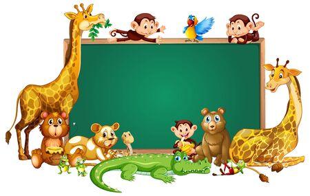 Border template design with cute animals illustration Ilustracja