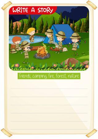 Write a story camp scene illustration Illustration