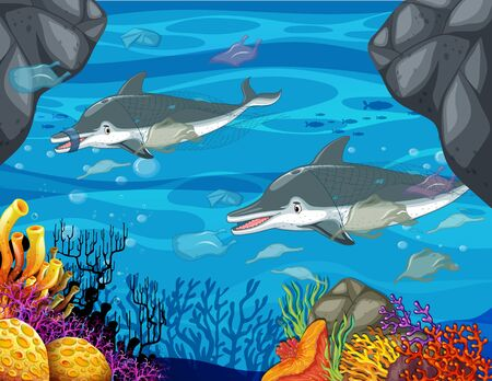 Pollution control scene with dolphin and plastic bags illustration Illustration