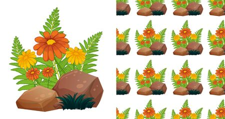 Seamless background design with orange gerbera flowers on stone illustration Иллюстрация