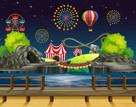 Scene background design with fireworks at the carnival  illustration