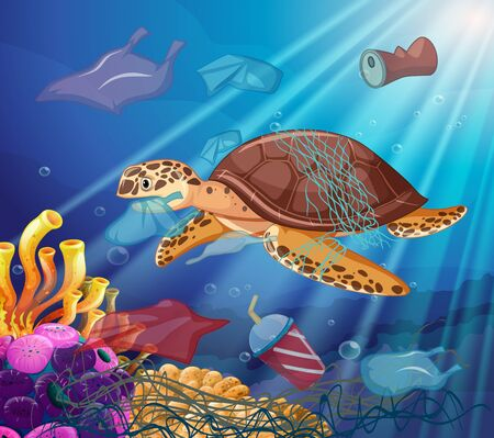 Sea turtle and plastic bags in the ocean illustration