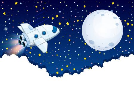 Spaceship flying to the moon illustration
