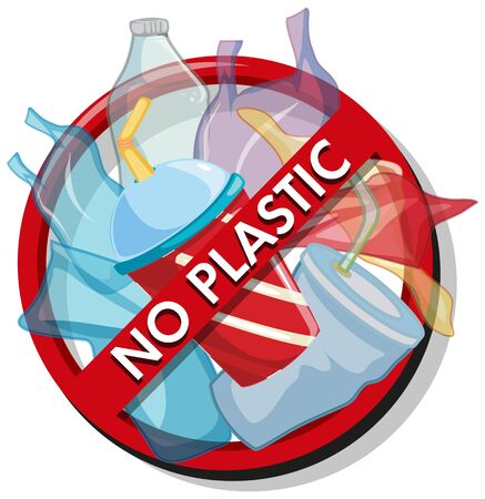 Poster design with no plastic trash illustration Illusztráció